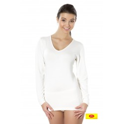 Camiseta Int. Mujer M/L Cuello Pico 95%