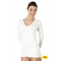 Camiseta Mujer M/L Ambar Cuello Pico