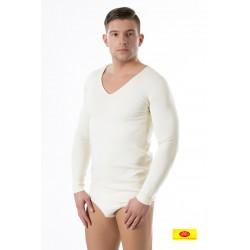 Camiseta Homb. M/L Ambar Cuello Pico